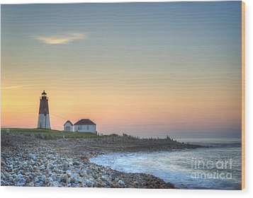 Point Judith Lighthouse Wood Print by Juli Scalzi