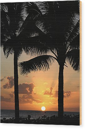 Poipu Beach Sunset Wood Print
