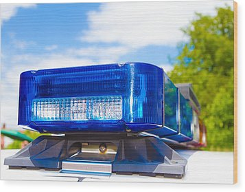 Police Lights Wood Print by Fizzy Image
