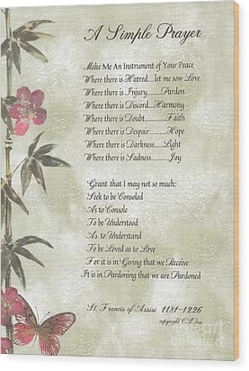 Pope Francis St. Francis Simple Prayer Butterfly Garden Wood Print by Desiderata Gallery