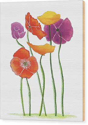 Wood Print featuring the painting Poppies A Plenty by Nan Wright