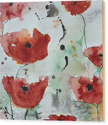 Poppies Flower- Painting Wood Print by Ismeta Gruenwald