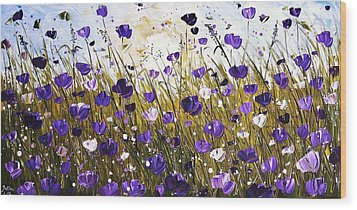 Poppis In Purple Wood Print by Jolina Anthony