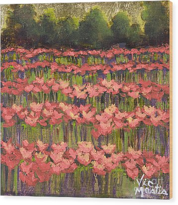 Poppy Field With Gold Leaf By Vic Mastis Wood Print by Vic  Mastis