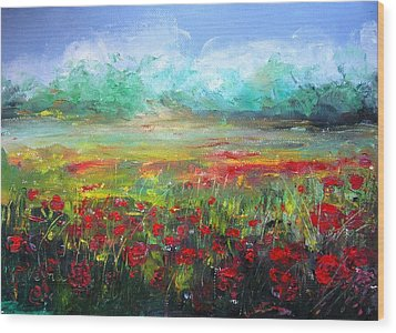 Poppy Fields Wood Print by Vesna Martinjak