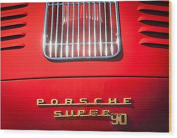 Porsche Super 90 Tail Emblem Wood Print by Jill Reger