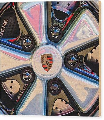 Porsche Wheel Rim Emblem Wood Print