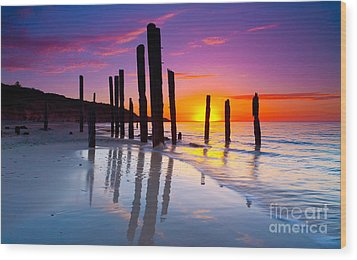 Port Willunga Sunset Wood Print by Bill  Robinson