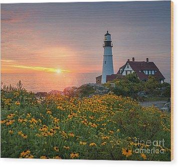 Portland Head Light Sunrise  Wood Print by Michael Ver Sprill
