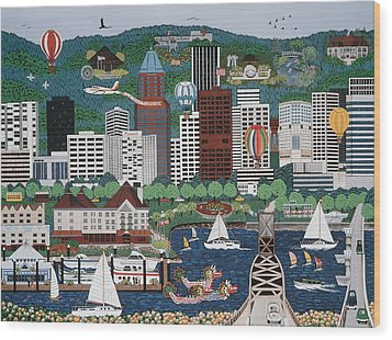 Portland Waterfront Wood Print