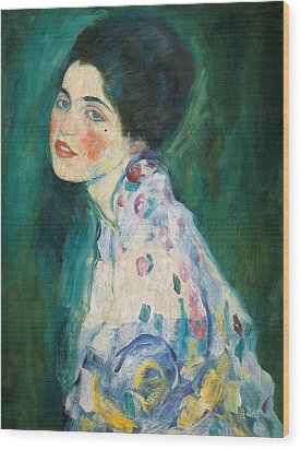 Portrait Of A Young Woman Wood Print by Gustav Klimt