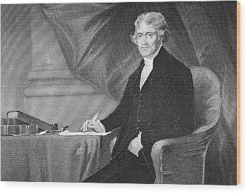 Portrait Of Thomas Jefferson Wood Print by Alonzo Chappel