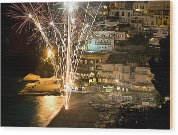 Wood Print featuring the photograph Positano Fireworks - Italy by Carl Amoth