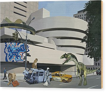Post-nuclear Guggenheim Visit Wood Print by Scott Listfield