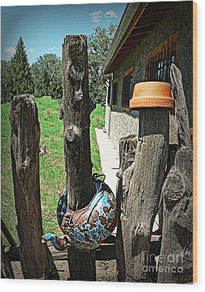 Pots And Posts Wood Print
