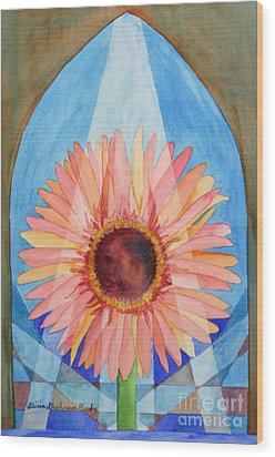 Praying Gerbera Wood Print by Shirin Shahram Badie