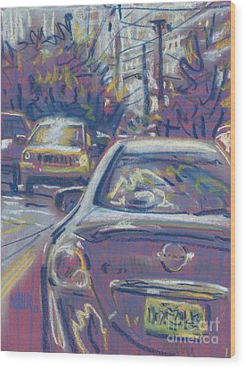 Wood Print featuring the painting Primary Parking by Donald Maier