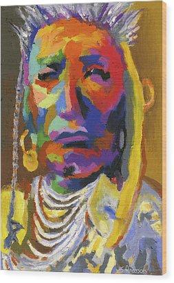 Proud Native American II Wood Print by Stephen Anderson