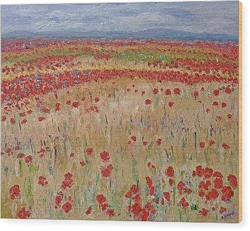 Provence Poppies Wood Print by Barbara Anna Knauf