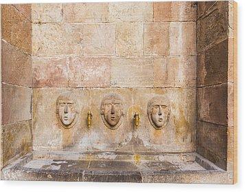 Public Drinking Fountain Barcelona Spain Wood Print by Marek Poplawski