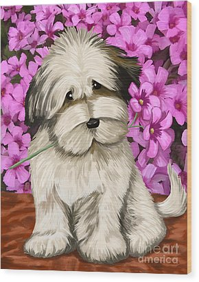 Wood Print featuring the painting Puppy In The Flowers by Tim Gilliland