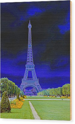 Purple Eiffel Wood Print