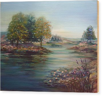 Wood Print featuring the painting Quiet Day On The Lake by Laila Awad Jamaleldin