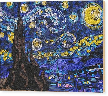 Quilled Starry Night Wood Print by Suzy Myers