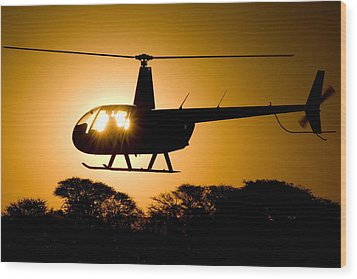 R44 Sunset Wood Print by Paul Job