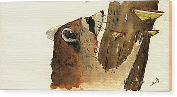 Raccoon On Tree Wood Print by Juan  Bosco
