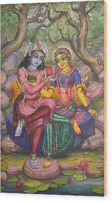 Radha And Krishna Wood Print by Vrindavan Das