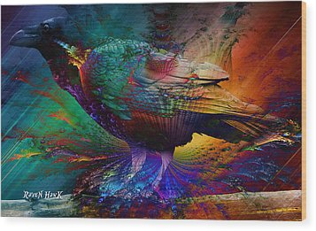 Rainbow Raven Wood Print by The Feathered Lady