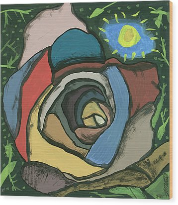Wood Print featuring the painting Rainbow Rose by Artists With Autism Inc