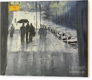 Rainy City Street Wood Print by Pamela  Meredith
