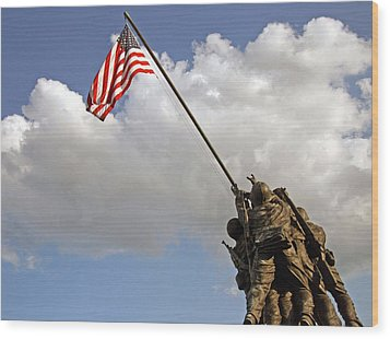 Wood Print featuring the photograph Raising The American Flag by Cora Wandel