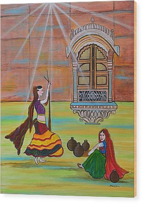 Rajasthani Ladies-dandiya  Wood Print by Manjiri Kanvinde