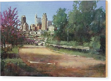 Raleigh Summer Skyline Wood Print