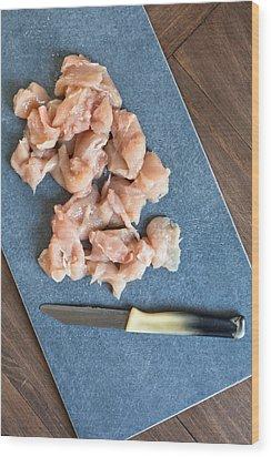 Raw Chicken Wood Print by Tom Gowanlock