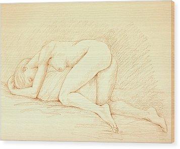 Reclining Woman Wood Print by Deborah Dendler