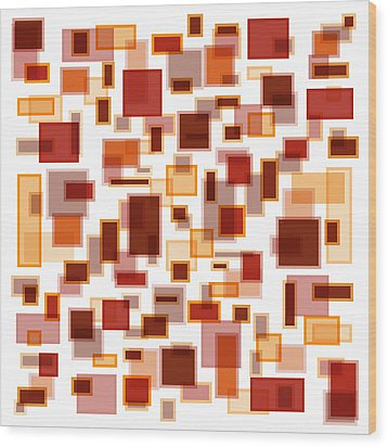 Red Abstract Rectangles Wood Print by Frank Tschakert