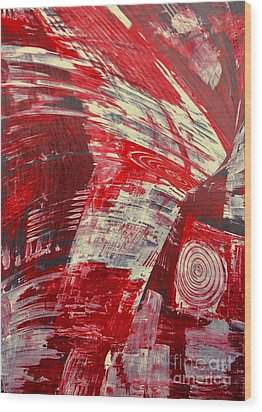 Red And White Wood Print by Gabriele Mueller