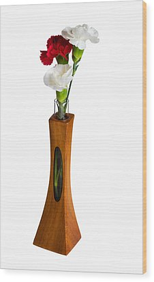 Red And White Spray Carnations In Teak Vase Wood Print by Steven Heap