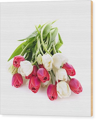 Red And White Tulips Wood Print by Elena Elisseeva