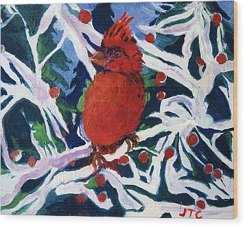 Red Bird Wood Print by Julie Todd-Cundiff