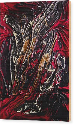 Red Black And Liquid Gold 2 Wood Print