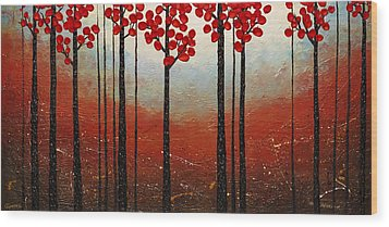 Red Blossom Wood Print