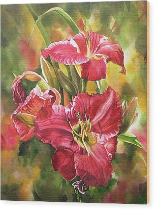 Red Daylilies Wood Print by Alfred Ng