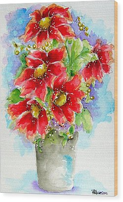 Wood Print featuring the painting Red Flowers by Patrice Torrillo