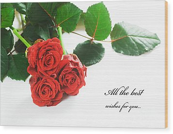 Red Fresh Roses On White Wood Print by Michal Bednarek