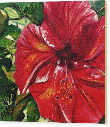 Red Hibiscus Wood Print by Maria Soto Robbins